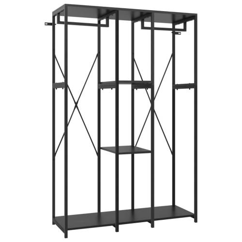 vidaXL Garderob svart 110x40x167 cm metall och spånskiva