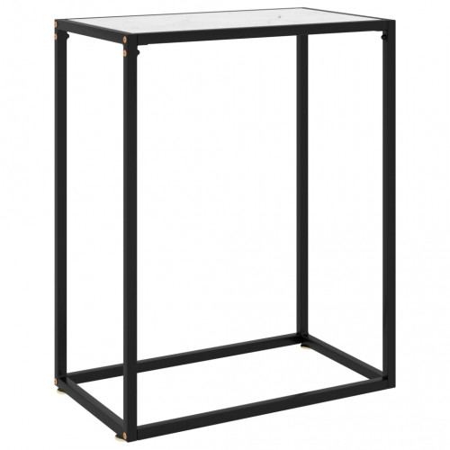 vidaXL Konsolbord vit 60x35x75 cm härdat glas