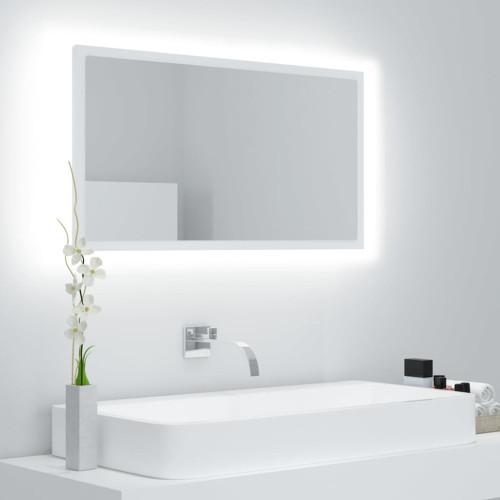 vidaXL Badrumsspegel med LED vit 80x8,5x37 cm spånskiva