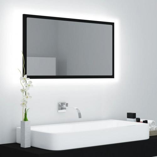 vidaXL Badrumsspegel med LED svart 80x8,5x37 cm spånskiva