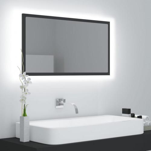 vidaXL Badrumsspegel med LED grå 80x8,5x37 cm spånskiva