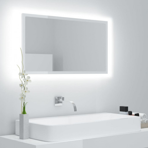 vidaXL Badrumsspegel vit högglans 80x8,5x37 cm spånskiva