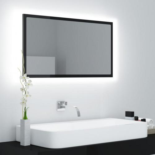 vidaXL Badrumsspegel med LED svart högglans 80x8,5x37 cm spånskiva