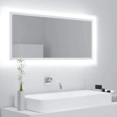 vidaXL Badrumsspegel med LED vit 100x8,5x37 cm spånskiva