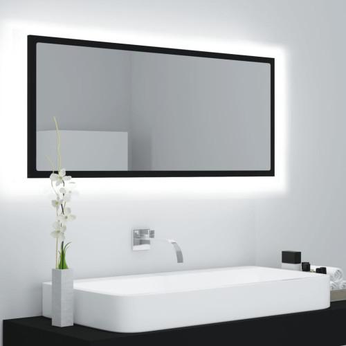 vidaXL Badrumsspegel med LED svart 100x8,5x37 cm spånskiva