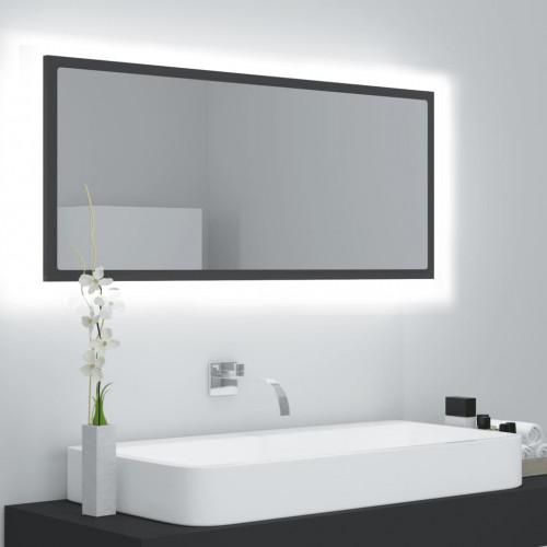vidaXL Badrumsspegel med LED grå 100x8,5x37 cm spånskiva