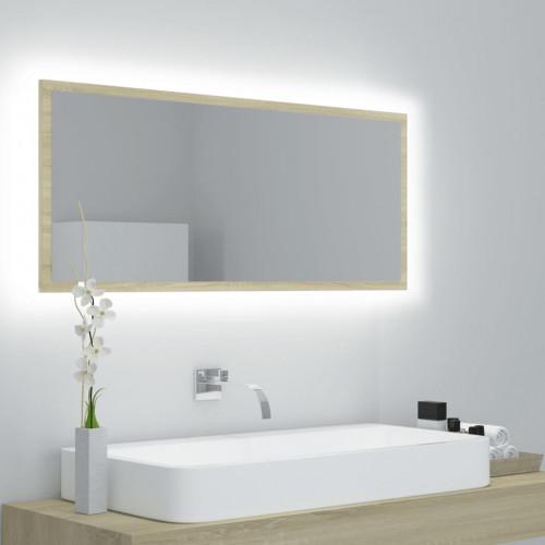 vidaXL Badrumsspegel med LED sonoma-ek 100x8,5x37 cm spånskiva