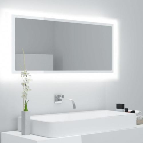 vidaXL Badrumsspegel med LED vit högglans 100x8,5x37 cm spånskiva