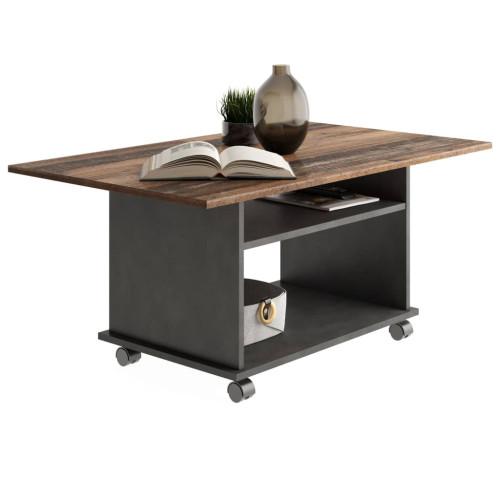 FMD FMD Soffbord med hjul gammeldags brun och svart
