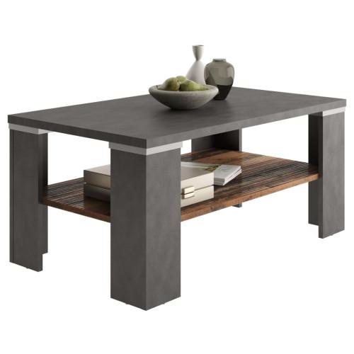 FMD FMD Soffbord med hylla materagrå och gammeldags brun