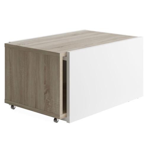FMD FMD Utdragbart soffbord vit och ek