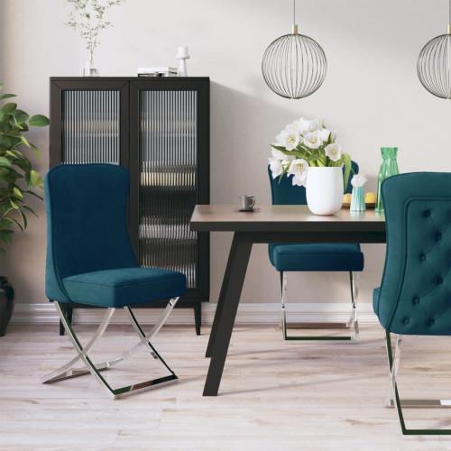 vidaXL Matstolar 4 st blå 53x52x98 cm sammet