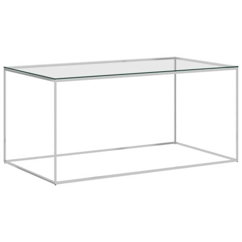 vidaXL Soffbord silver 90x50x43 cm rostfritt stål och glas