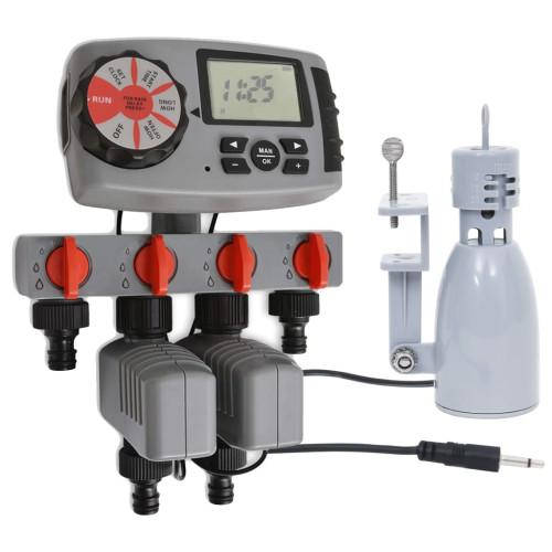 vidaXL Automatiskt bevattningstimer med 4 stationer och regnsensor 3V