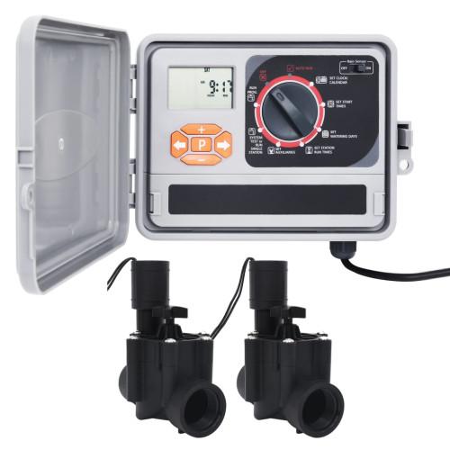 vidaXL Bevattningskontroll med 2 magnetventiler