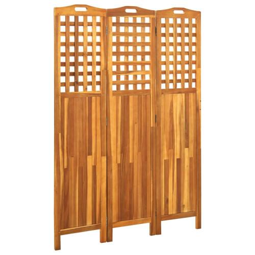 vidaXL Rumsavdelare 3 paneler 121x2x170 cm massivt akaciaträ