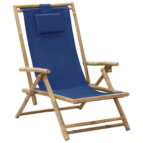 vidaXL Reclinerstol marinblå bambu och tyg