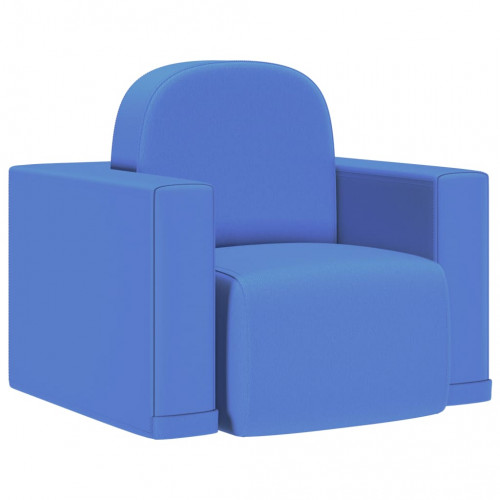 vidaXL 2-i-1 barnsoffa blå konstläder