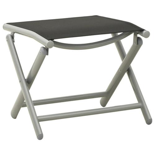 vidaXL Fotpall hopfällbar textilen och aluminium svart och silver