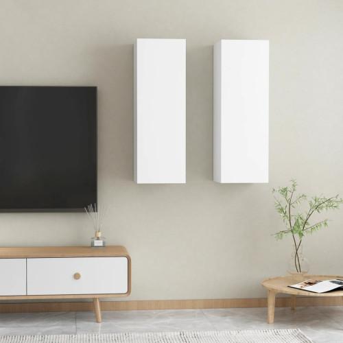 vidaXL TV-skåp 2 st vit 30,5x30x90 cm spånskiva