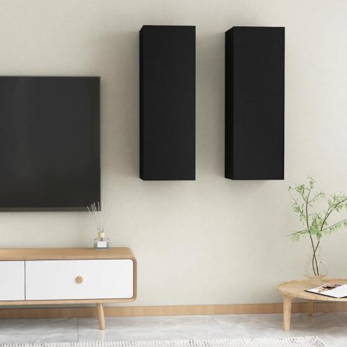 vidaXL TV-skåp 2 st svart 30,5x30x90 cm spånskiva