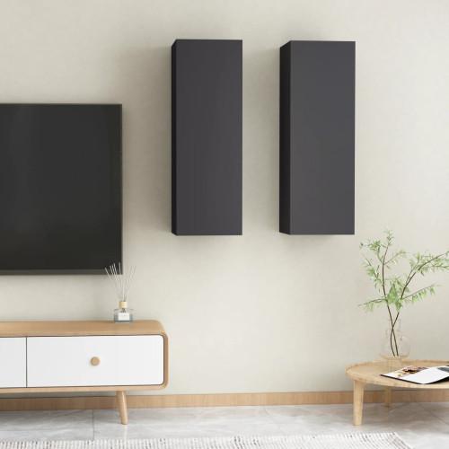 vidaXL TV-skåp 2 st grå 30,5x30x90 cm spånskiva