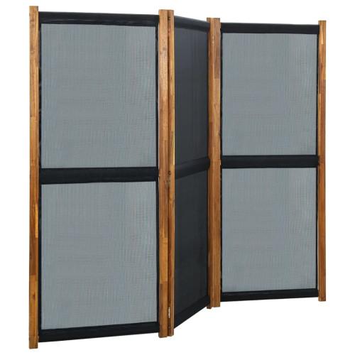 vidaXL Rumsavdelare 3 paneler svart 210x170 cm