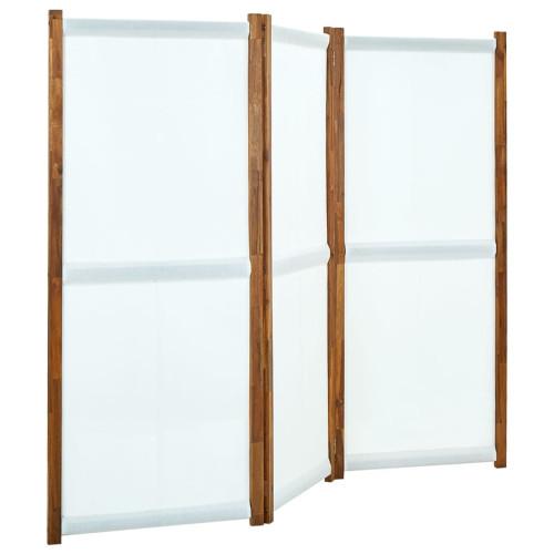 vidaXL Rumsavdelare 3 paneler gräddvit 210x170 cm
