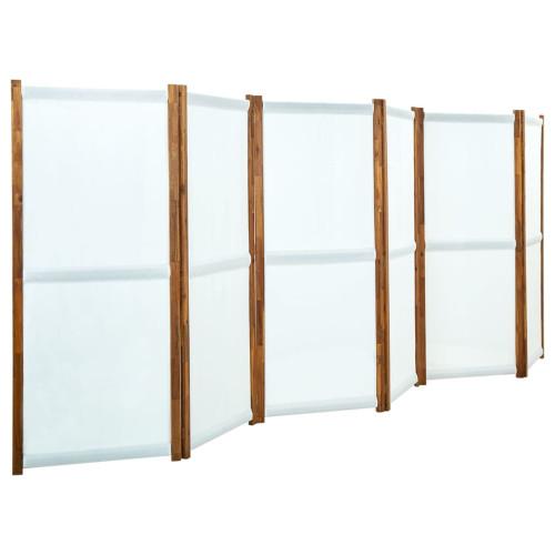 vidaXL Rumsavdelare 6 paneler gräddvit 420x170 cm