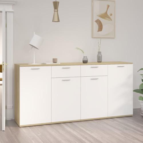 vidaXL Skänk vit och sonoma-ek 160x36x75 cm spånskiva