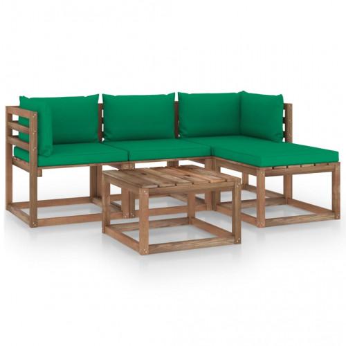 vidaXL Loungegrupp med gröna dynor 5 delar
