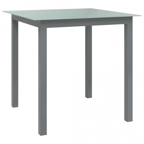 vidaXL Trädgårdsbord ljusgrå 80x80x74 cm aluminium och glas
