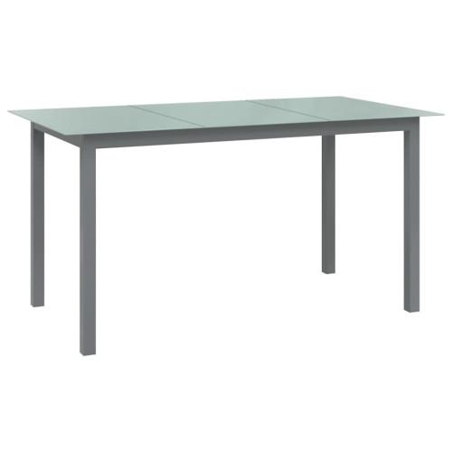 vidaXL Trädgårdsbord ljusgrå150x90x74 cm aluminium och glas