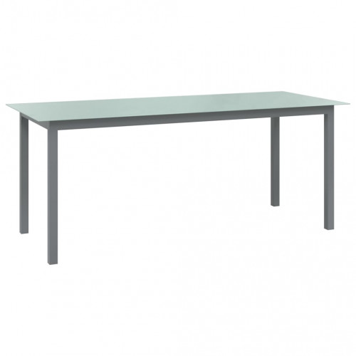 vidaXL Trädgårdsbord ljusgrå 190x90x74 cm aluminium och glas