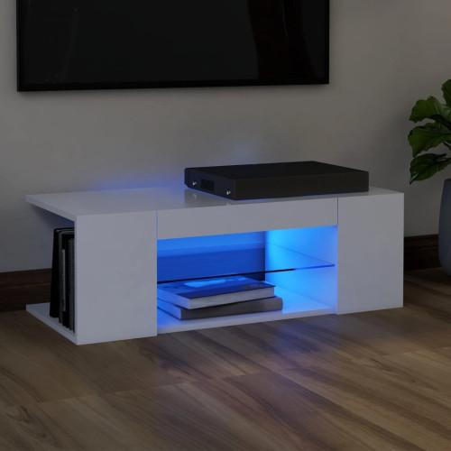 vidaXL TV-bänk med LED-belysning vit 90x39x30 cm