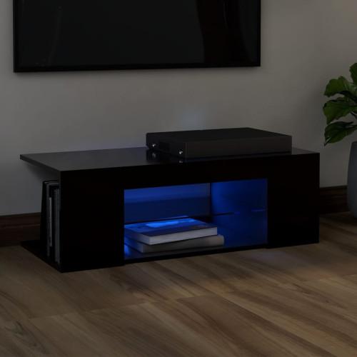 vidaXL TV-bänk med LED-belysning svart 90x39x30 cm