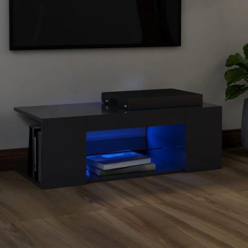vidaXL TV-bänk med LED-belysning grå 90x39x30 cm