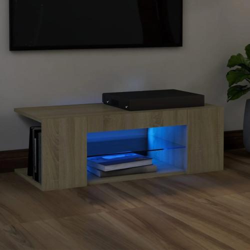 vidaXL TV-bänk med LED-belysning sonoma-ek 90x39x30 cm