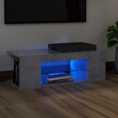 vidaXL TV-bänk med LED-belysning betonggrå 90x39x30 cm