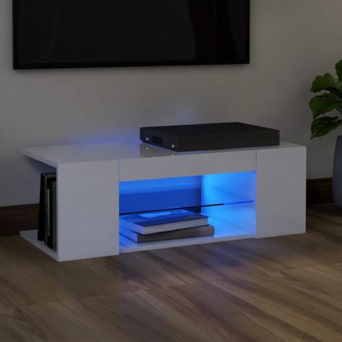 vidaXL TV-bänk med LED-belysning vit högglans 90x39x30 cm