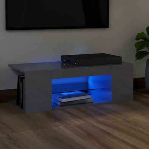 vidaXL TV-bänk med LED-belysning grå högglans 90x39x30 cm