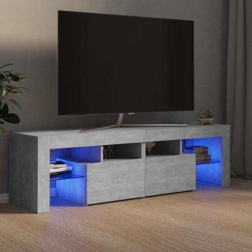 vidaXL TV-bänk med LED-belysning betonggrå 140x35x40 cm