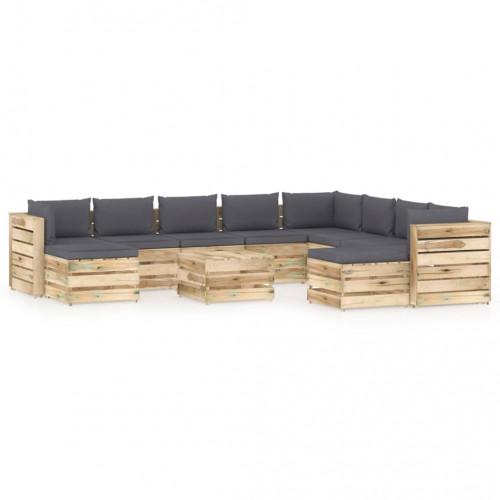vidaXL Loungegrupp med dynor 11 delar tryckimpregnerat trä