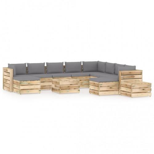 vidaXL Loungegrupp med dynor 12 delar tryckimpregnerat trä