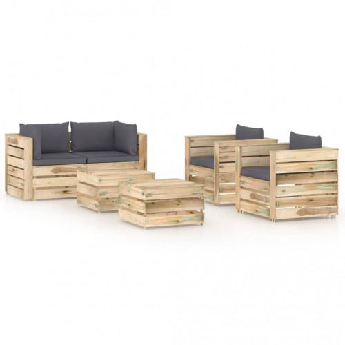 vidaXL Loungegrupp med dynor 6 delar tryckimpregnerat trä