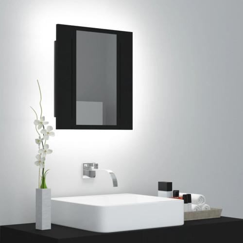 vidaXL Spegelskåp med LED svart 40x12x45 cm