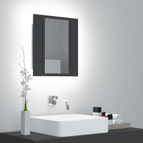 vidaXL Spegelskåp med LED grå 40x12x45 cm