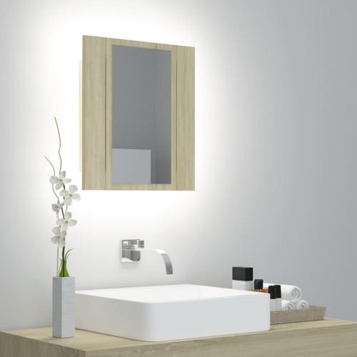 vidaXL Spegelskåp med LED sonoma-ek 40x12x45 cm