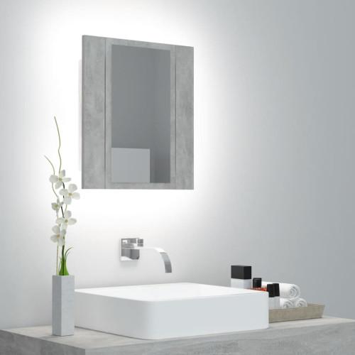 vidaXL Spegelskåp med LED betonggrå 40x12x45 cm
