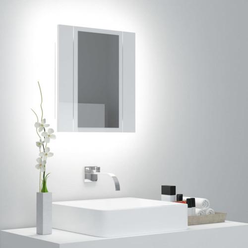 vidaXL Spegelskåp för badrum LED vit högglans 40x12x45 cm